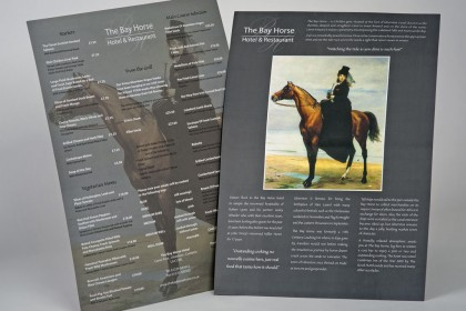 the Bay Horse Menu samples for Printing Plus Lancaster http://www.thebayhorsehotel.co.uk/