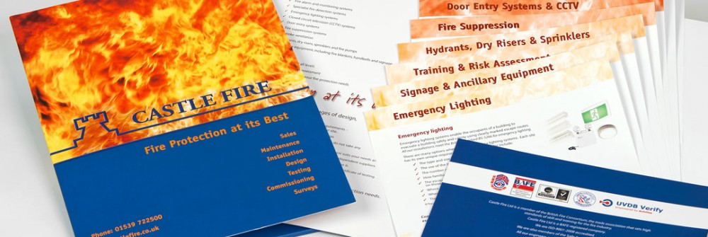 Folder samples for Castle Fire Protection - Printing Plus Lancaster http://www.castlefire.co.uk/