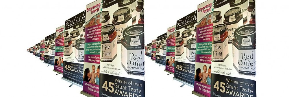 roll up banner designs for Printing Plus Lancaster - Hawkshead Relish - http://www.hawksheadrelish.com/