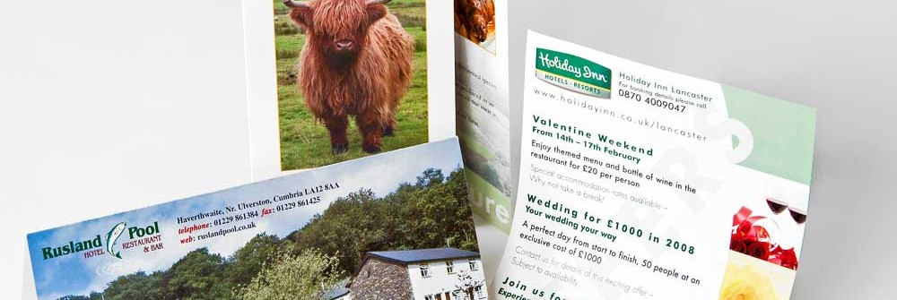Leaflet samples for Printing Plus Lancaster
