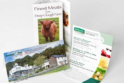Leaflet samples for Printing Plus Lancaster