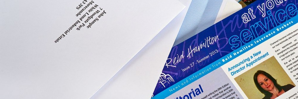Mailshot samples for Printing Plus Lancaster for Reid Hamilton http://www.insurancecover.co.uk/
