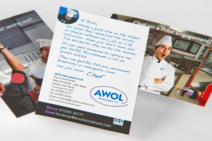 AWOL postcard samples for Printing Plus Lancaster http://www.awolrecruitment.com/